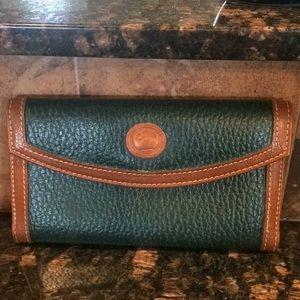 Vintage Dooney & Bourke trifold Wallet green/tan